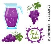 vector set of natural fresh... | Shutterstock .eps vector #628633523