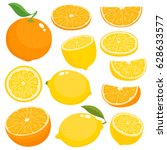 bright vector set of colorful... | Shutterstock .eps vector #628633577