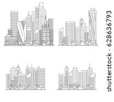 set vector line city... | Shutterstock .eps vector #628636793
