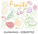 hand drawn graphic fruits.... | Shutterstock .eps vector #628642763