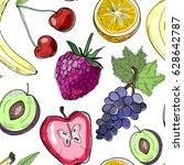 hand drawn tasty juicy fruits.... | Shutterstock .eps vector #628642787