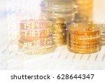 double exposure of rows of... | Shutterstock . vector #628644347