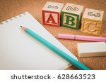 wood letter blocks alphabet abc ... | Shutterstock . vector #628663523