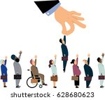 giant managerial hand picking... | Shutterstock .eps vector #628680623