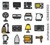 electrics housewares  icons set ... | Shutterstock .eps vector #628683503