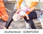 man show technique choking... | Shutterstock . vector #628691003