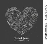 hand drawn outline buffet style ... | Shutterstock .eps vector #628713977