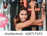 young fitness woman execute... | Shutterstock . vector #628717193