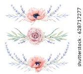 Watercolor Vintage Floral Set....