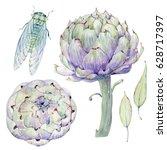 watercolor vintage floral set.... | Shutterstock . vector #628717397