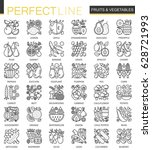 fruits and vegetables stroke... | Shutterstock .eps vector #628721993