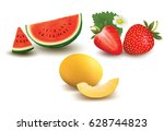 collection of fruit and berries.... | Shutterstock .eps vector #628744823