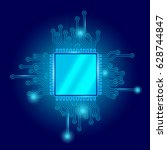 circuit board cpu microchip... | Shutterstock .eps vector #628744847