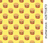 pattern with hamburgers on a... | Shutterstock .eps vector #628751873