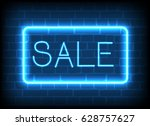 neon sign sale in a frame on... | Shutterstock . vector #628757627
