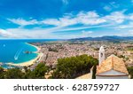 panoramic aerial view of blanes ... | Shutterstock . vector #628759727