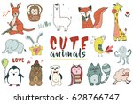 hand drawn set of vector... | Shutterstock .eps vector #628766747