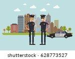 policeman in uniform. vector... | Shutterstock .eps vector #628773527