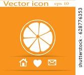 flat icon. orange in a cut.... | Shutterstock .eps vector #628776353