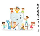 little children take care of... | Shutterstock .eps vector #628780067