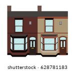typical uk terraced houses with ... | Shutterstock .eps vector #628781183