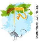 vector illustration of a monkey ...   Shutterstock .eps vector #628783187