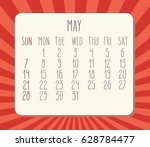 may 2017 calendar with hand... | Shutterstock . vector #628784477