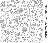 outline sweets icons background ... | Shutterstock .eps vector #628786883