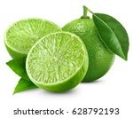 Limes Isolated With Leaf On...