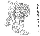 beautiful mermaid girl pretties ... | Shutterstock .eps vector #628795703