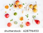fresh fruits on white... | Shutterstock . vector #628796453