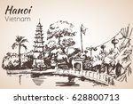 hanoi bay with pagoda. vietnam. ... | Shutterstock .eps vector #628800713