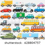 flat colored cartoon cars  taxi ... | Shutterstock . vector #628804757