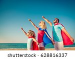 family of superheroes on the... | Shutterstock . vector #628816337