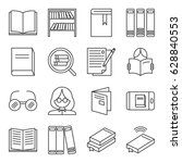 set of library related vector... | Shutterstock .eps vector #628840553