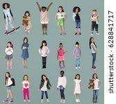 diverse of young girls children ... | Shutterstock . vector #628841717