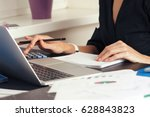 close up view of bookkeeper or... | Shutterstock . vector #628843823
