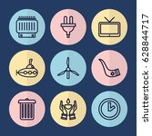 set of 9 vintage outline icons... | Shutterstock .eps vector #628844717