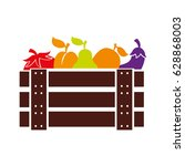 wooden basket with fruits and... | Shutterstock .eps vector #628868003