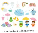 rainy season illustration set. | Shutterstock .eps vector #628877693