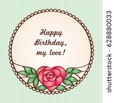 vector vintage round frame with ... | Shutterstock .eps vector #628880033