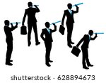silhouette of businessman use... | Shutterstock . vector #628894673