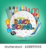 welcome back to school text and ... | Shutterstock .eps vector #628895543