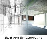 sketch design of interior space ... | Shutterstock . vector #628903793