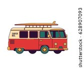 colorful surf bus vector line... | Shutterstock .eps vector #628907093