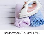 laundry set with towels and... | Shutterstock . vector #628911743