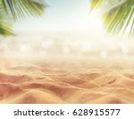 sand with blurred palm and... | Shutterstock . vector #628915577