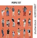 diverse of people enjoy music... | Shutterstock . vector #628923887