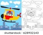 vector cartoon of bear pilot... | Shutterstock .eps vector #628932143