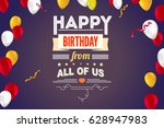 creative birthday card with... | Shutterstock .eps vector #628947983